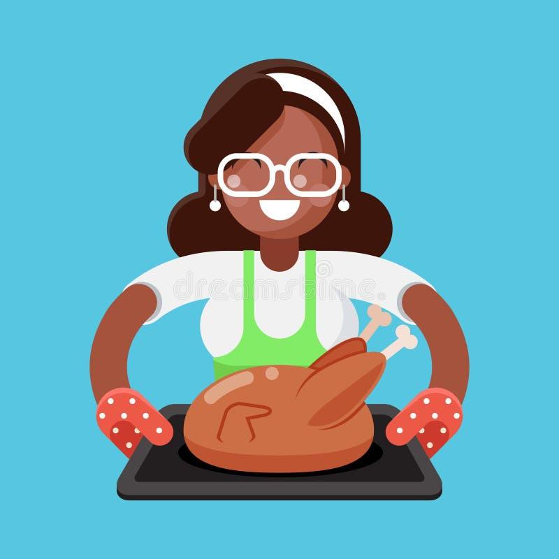 Женщина матери Афро американская с домохозяйкой индюка жареной курицы с печь плоский вектор шаблона идеи проекта бесплатная иллюстрация