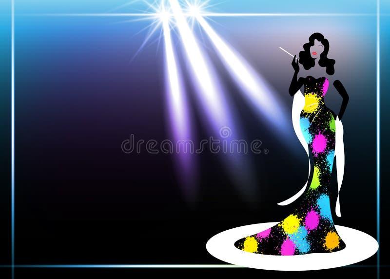 Женщина моды логотипа магазина шаблона, черная дива силуэта Дизайн фирменного наименования компании, красивая роскошная женщина д иллюстрация штока