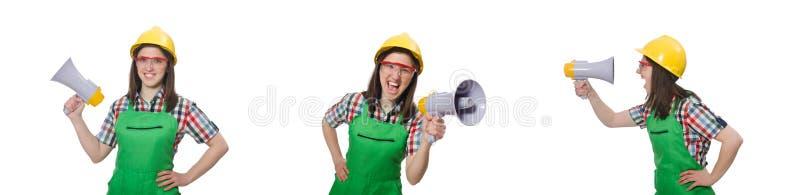 Женщина нося трудную шляпу с громкоговорителем стоковые изображения