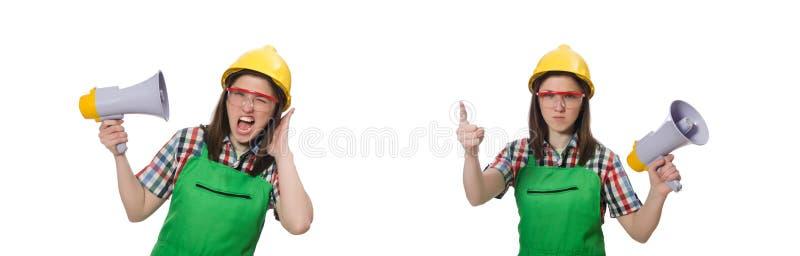 Женщина нося трудную шляпу с громкоговорителем стоковая фотография