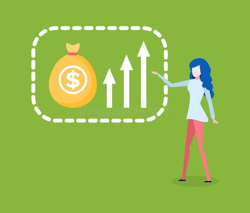 Женщина показывая пути увеличения финансового роста иллюстрация штока