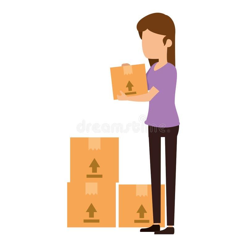 Женщина получая товар с коробками иллюстрация штока