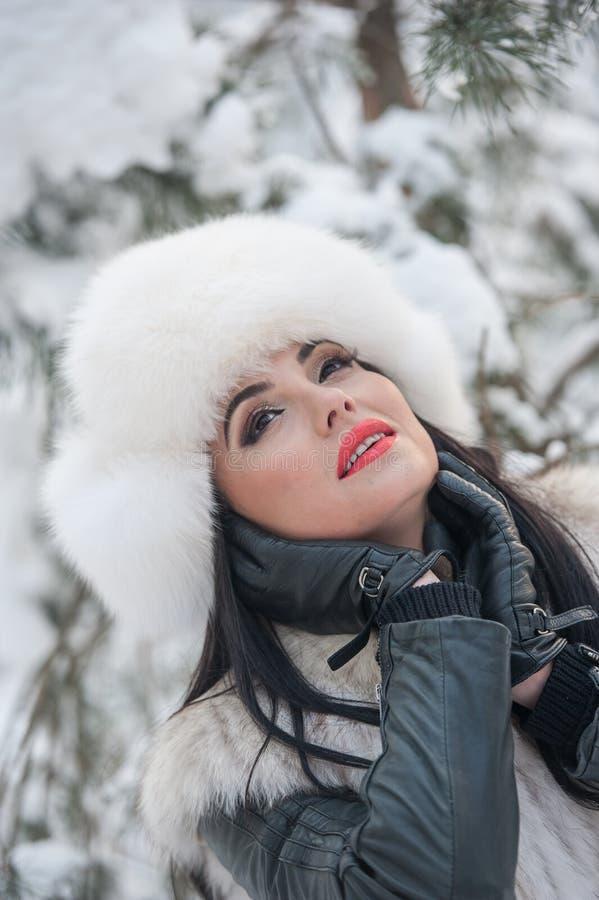 Женщина с белыми крышкой и жилетом меха наслаждаясь пейзажем зимы около железной загородки Привлекательный длинный представлять д стоковое изображение