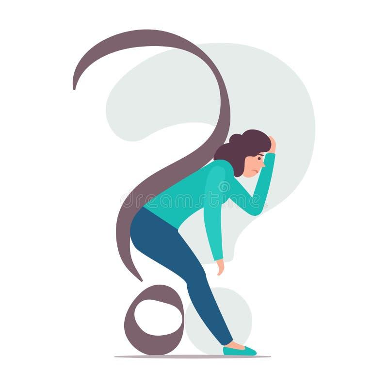 Женщина согнута под вопросительным знаком Женщина удручена проблемами и сомнениями Иллюстрация принципиальной схемы вектора иллюстрация штока