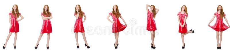 Женщина redhead в красном платье стоковая фотография