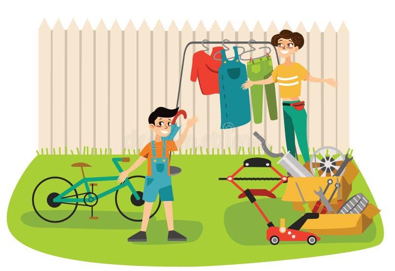 Женщины распродажи старых вещей молодые красивые продают используемое вещество на еженедельном рынке ткани, девушек выбирают одеж бесплатная иллюстрация