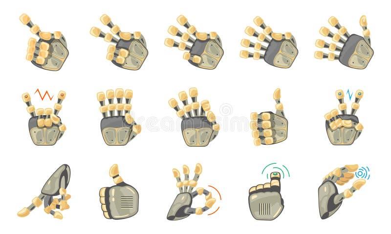 Жесты рукой робота Робототехнические руки Механически символ инженерства машины технологии жесты вручают комплект Большая рука ро иллюстрация штока