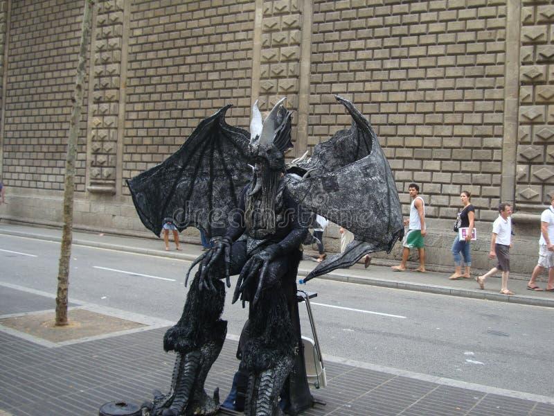 Живя статуи Ла Rambla в BarcelonaYuSpain стоковая фотография rf