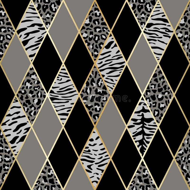 Животная черная и серая геометрическая безшовная картина иллюстрация вектора