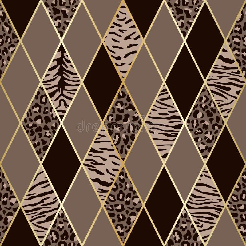Животный беж и картина Брауна геометрическая безшовная бесплатная иллюстрация