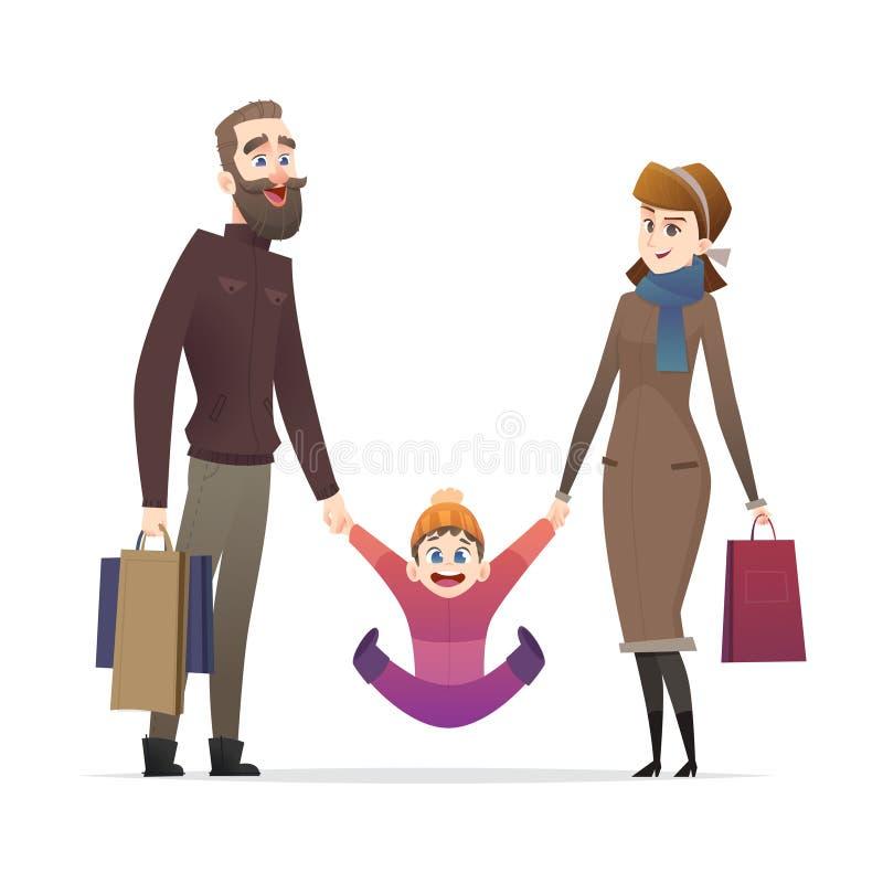 Жизнерадостная семья с приобретениями или на покупках Веселые мама и папа с ребенком для прогулки Счастливые родители тратят врем иллюстрация штока