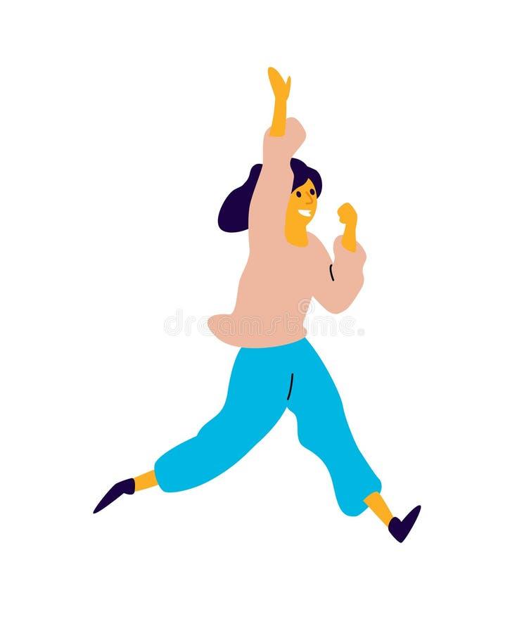 Жизнерадостная танцуя девушка вектор Иллюстрация смеясь молодой женщины Характер для студии танца Плоский стиль Положительное bea иллюстрация штока