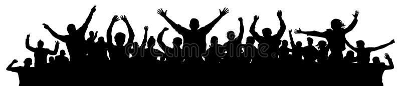 Жизнерадостные люди имея праздновать потехи Толпа людей потехи на партии, празднике Люди рукоплескания вручают вверх Эмоционально бесплатная иллюстрация