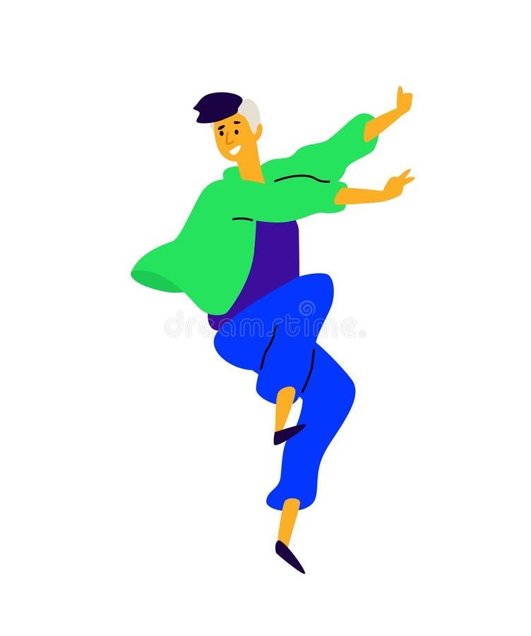 Жизнерадостный положительный парень вектор Иллюстрация танцуя молодого человека Характер для студии танца Плоский стиль абстрактн бесплатная иллюстрация