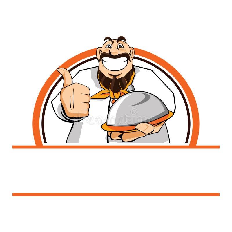 Жирные большие пальцы руки шеф-повара вверх по иллюстрации мультфильма еды подачи бесплатная иллюстрация