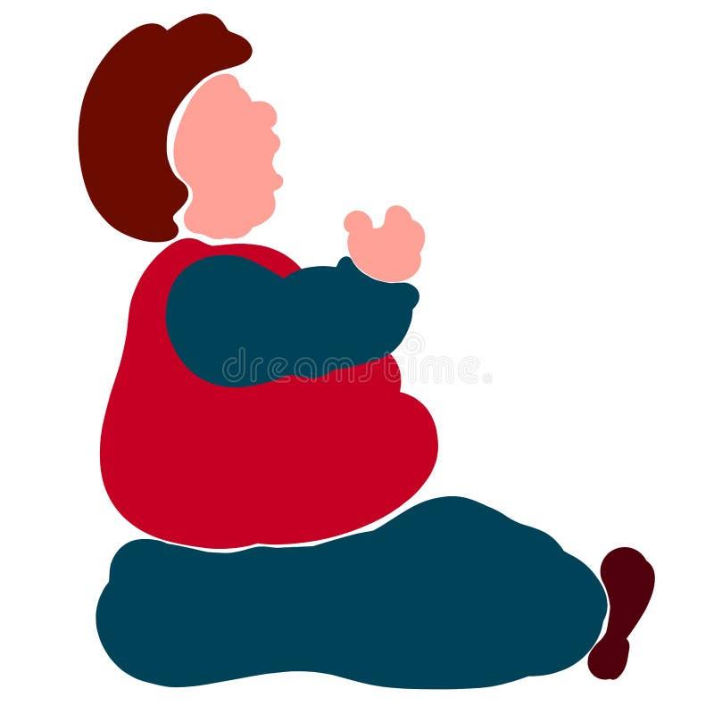 Жирный человек раскрыл его рот для еды или для того чтобы спеть или поговорить бесплатная иллюстрация