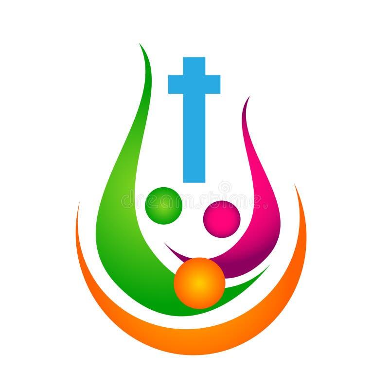 Забота соединения людей церков города соединения любов церков семьи любит Христос, значок дизайна логотипа цивилизации на белой п иллюстрация штока