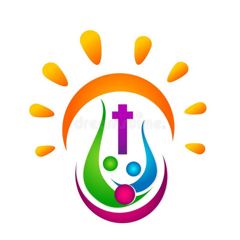 Забота соединения людей церков города соединения любов солнца церков семьи любит Христос, значок дизайна логотипа цивилизации на  бесплатная иллюстрация