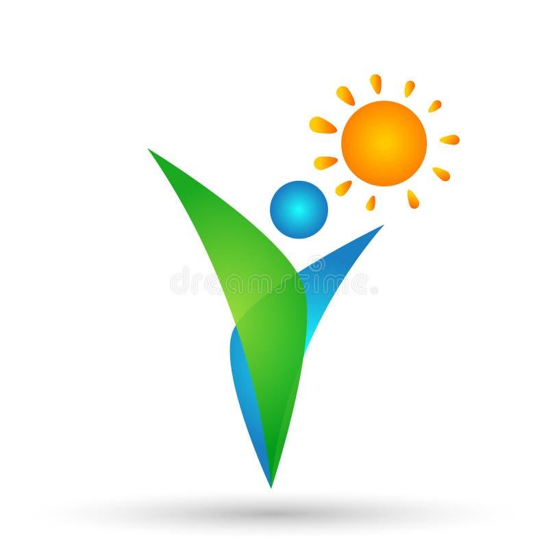 Завод, люди, символ естественных, логотипа здоровья солнца ботаники экологичности и элемент значка на белой предпосылке бесплатная иллюстрация