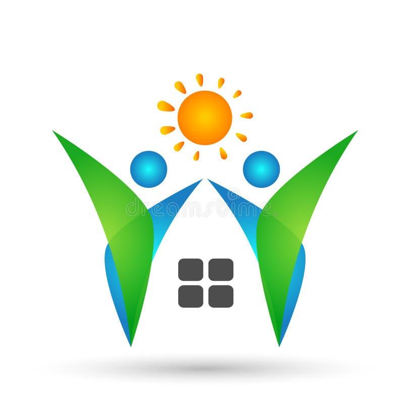 Завод, дом людей домашний, символ естественных, логотипа здоровья солнца ботаники экологичности и элемент значка на белой предпос иллюстрация штока