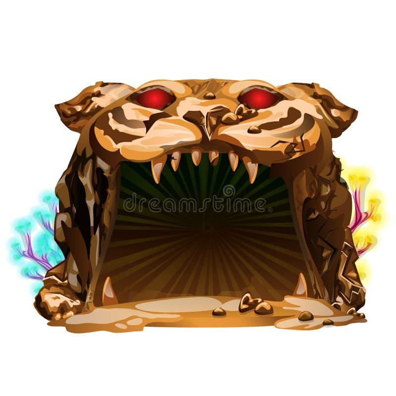 Загадочная подводная пещера в форме головы тигра изолированной на белой предпосылке Конец-вверх шаржа вектора иллюстрация штока