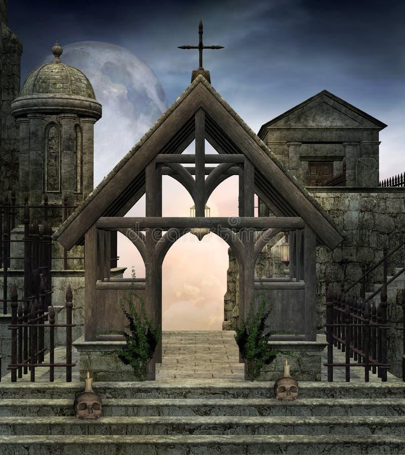 Загадочные руины в пейзаже nighttime иллюстрация вектора