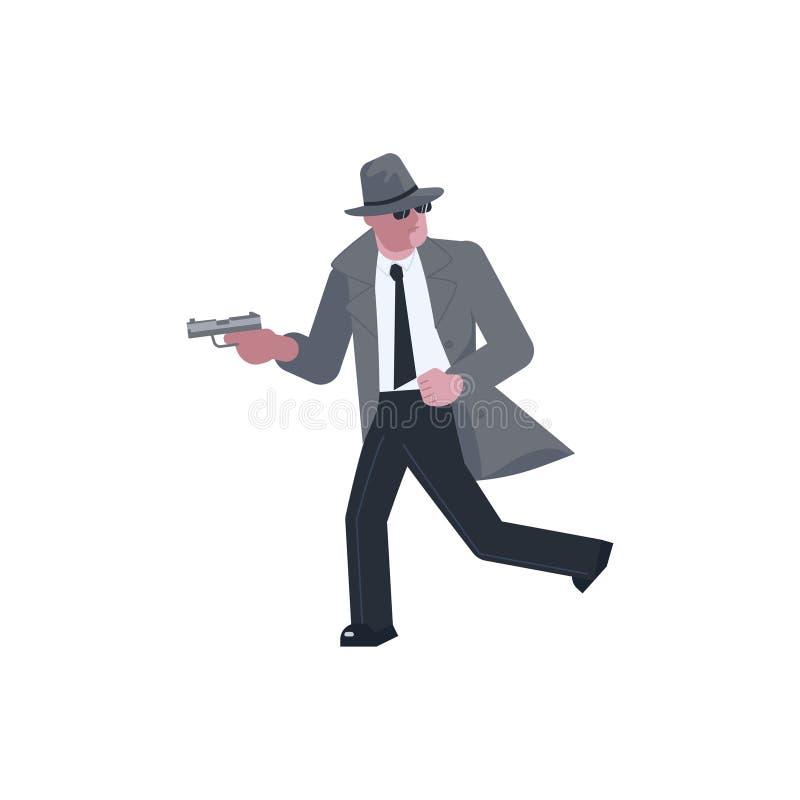 Загадочный человек принимает цель с пистолетом и бежит прочь бесплатная иллюстрация
