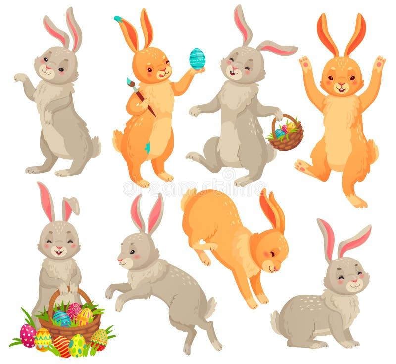 зайчик пасха Скача кролик, танцуя смешные животные зайчиков и набор иллюстрации мультфильма вектора яя easters кроликов иллюстрация вектора