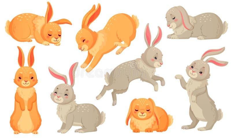 зайчик смешной Любимцы кроликов, зайчики пасхи и набор иллюстрации вектора кролика весны плюша маленьким изолированный любимцем иллюстрация вектора