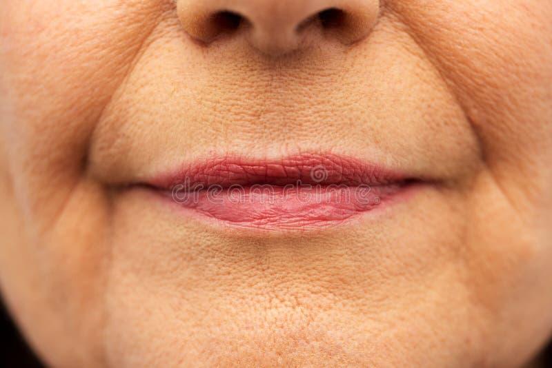Закройте вверх старших губ женщины стоковые фото