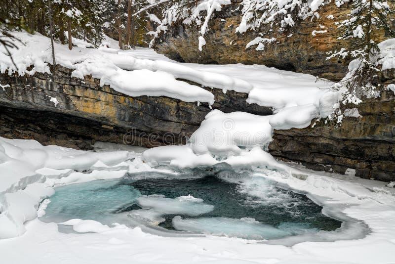 Замороженная заводь Johnston в каньоне Johnston стоковая фотография
