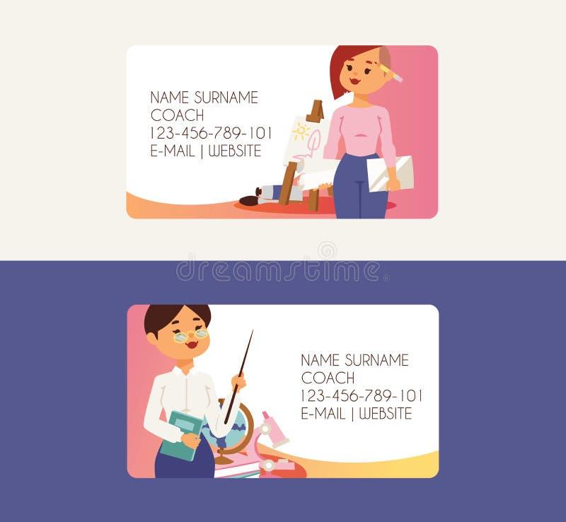 Занятие визитной карточки профессии людей преподавательства вектора учителя в школе изучая на иллюстрации университета иллюстрация штока