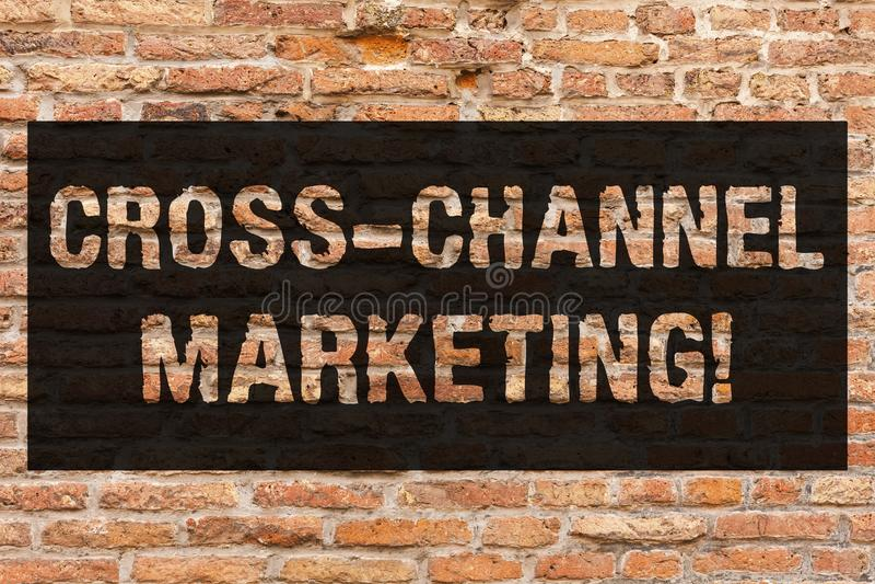 Запись примечания показывая перекрестный маркетинг канала Включать фото дела showcasing с клиентом через каждое цифровое стоковое изображение rf