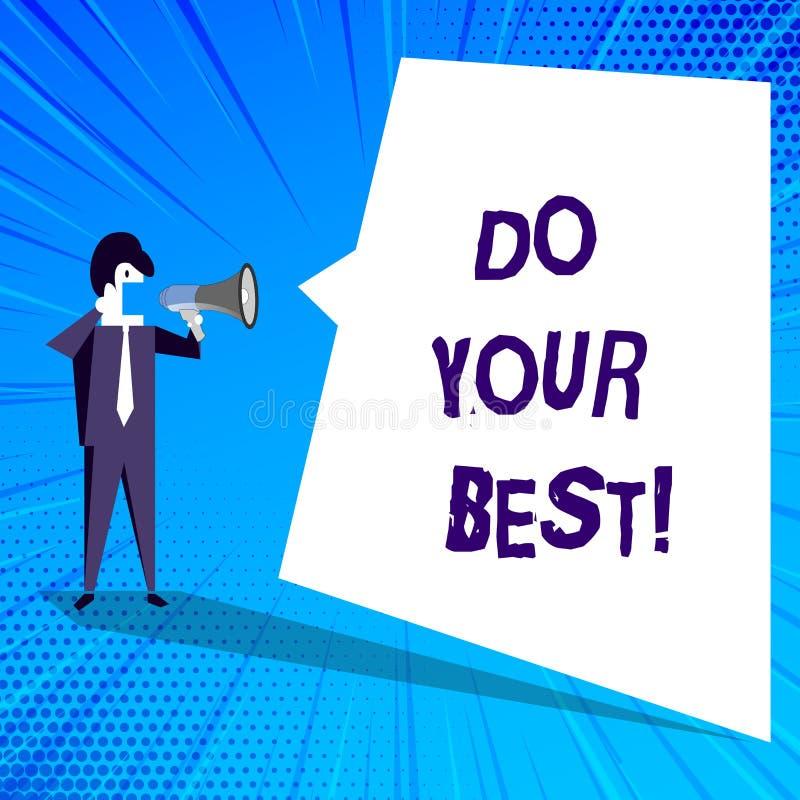 Запись текста почерка делает вашу самую лучшую концепцию знача поощрение для высокого усилия выполнить ваши цели иллюстрация вектора