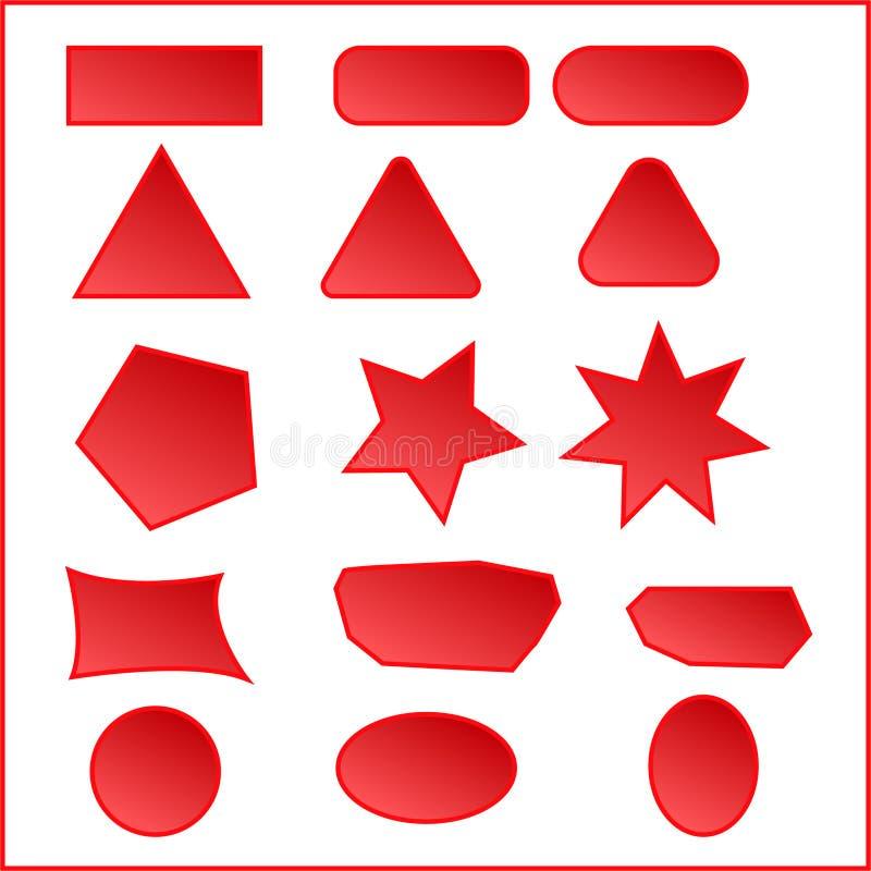 застегивает красный вебсайт Кнопка веб-дизайна заранее ставит красный цвет синь застегивает версию вектора игрока Элементы UI иллюстрация вектора