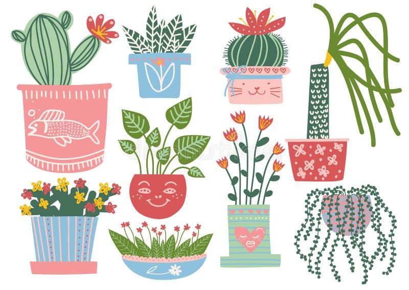 Зацветая заводы в баках установили, крытая в горшке иллюстрация вектора комнатных растений бесплатная иллюстрация