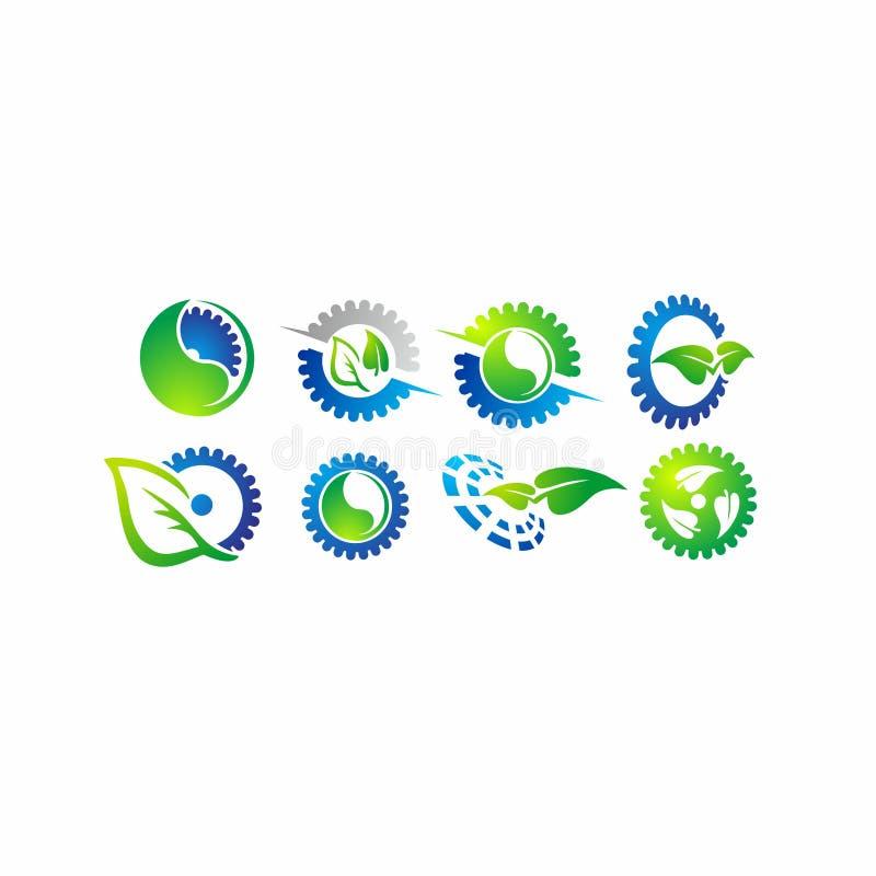 Зацепите лист, дизайн логотипа вектора шестерни завода иллюстрация штока
