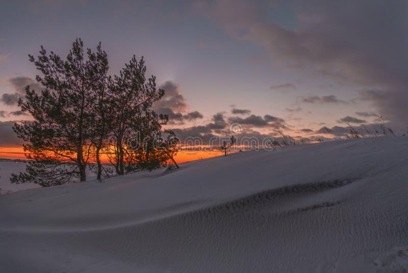 Заход солнца вечера зимы Венеры стоковая фотография