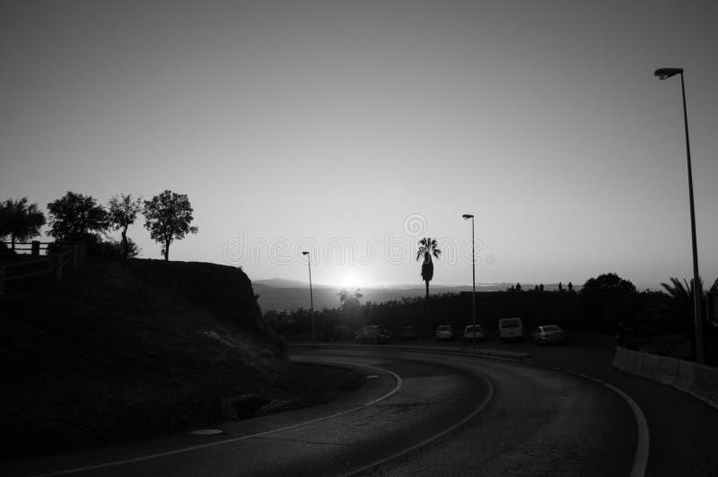 Заход солнца на бдительности Abogado del Mirador del Barranco в Гранаде, Испании стоковое изображение rf