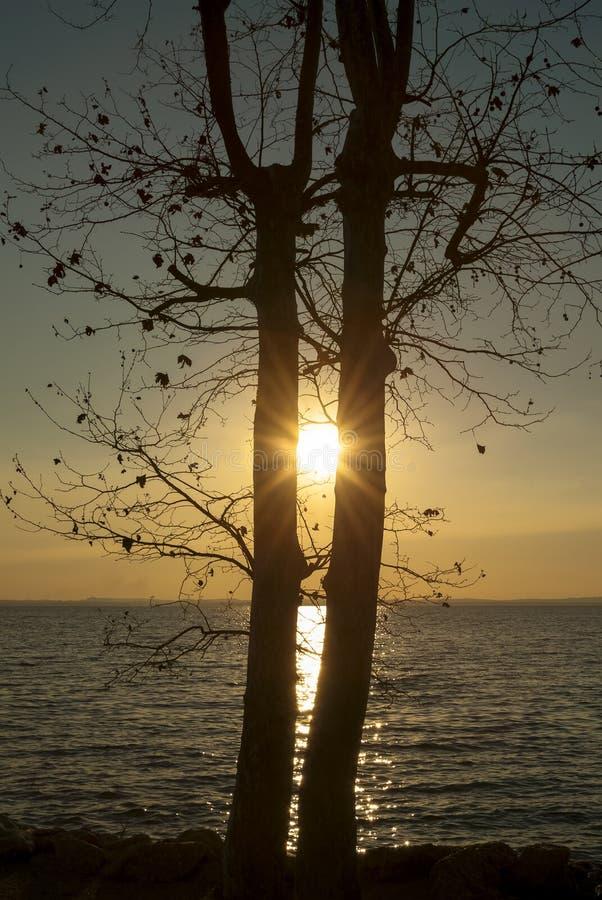 Заход солнца на озере Garda, Италии стоковое изображение rf