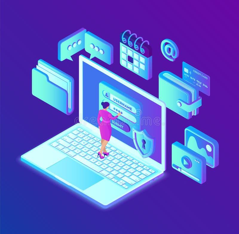 Защита данных Настольный ПК с формой на экране, личной защитой данных утверждения Характер потребителя женский Доступ к данным, и иллюстрация штока