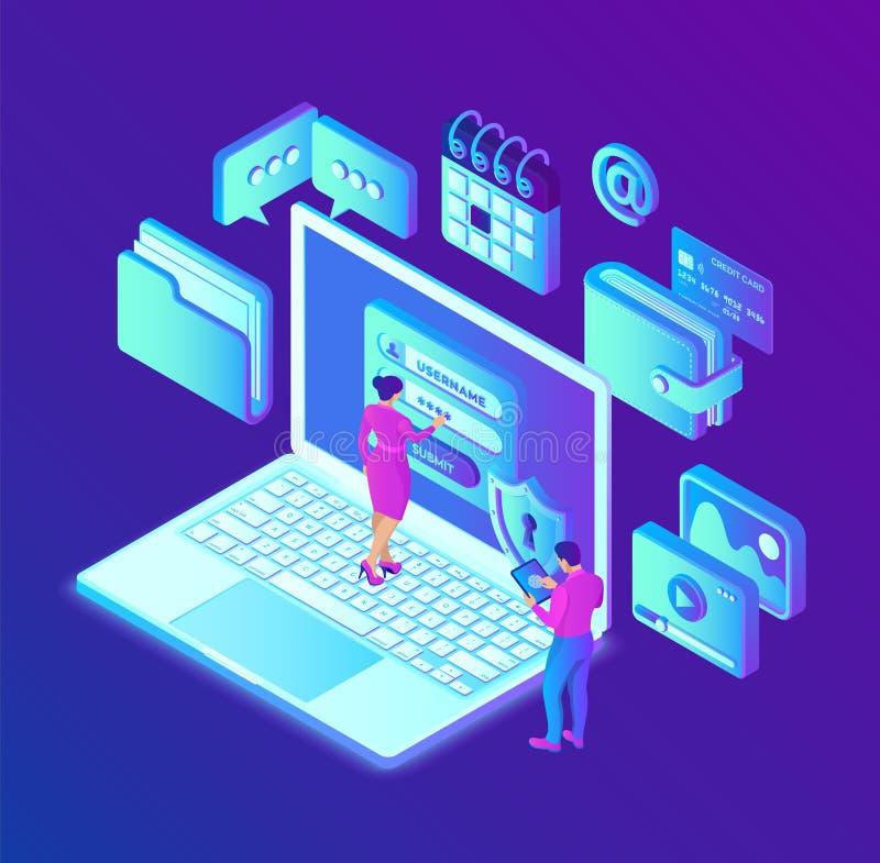 Защита данных Настольный ПК с формой на экране, личной защитой данных утверждения Мужчина потребителя и женский характер данные иллюстрация вектора
