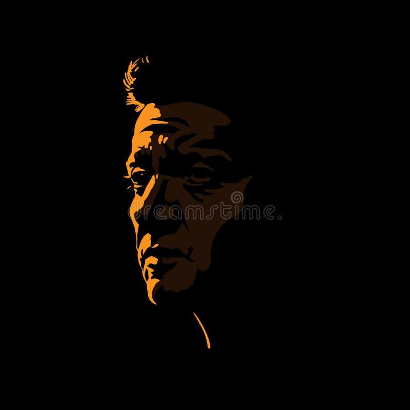 Зверский силуэт портрета человека в отличие освещает контржурным светом иллюстрация вектора