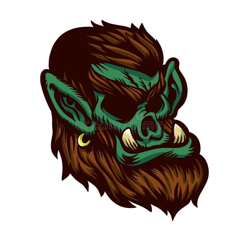 Зеленая иллюстрация мультфильма orc иллюстрация штока