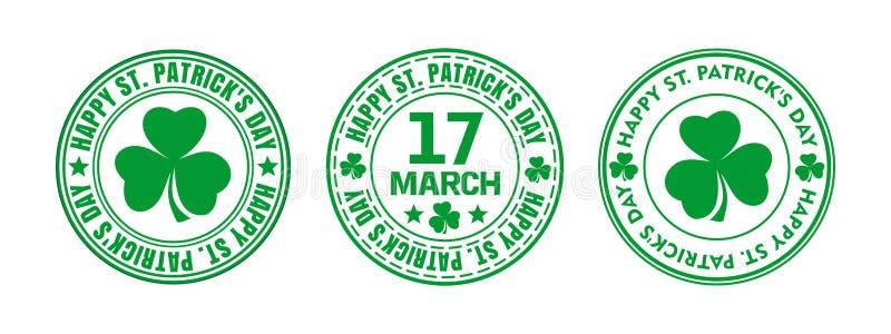 Зеленая круглая печать на день St Patricks иллюстрация штока
