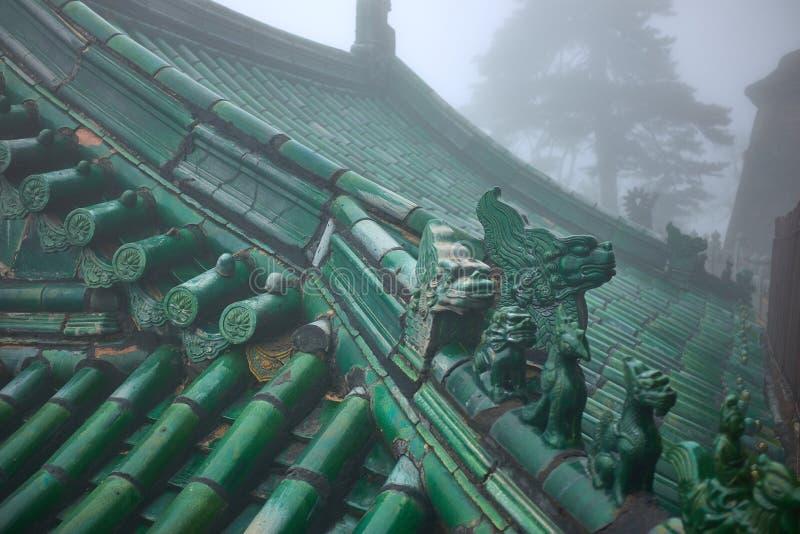 Зеленая крыша старого китайского виска wushu стоковое изображение rf
