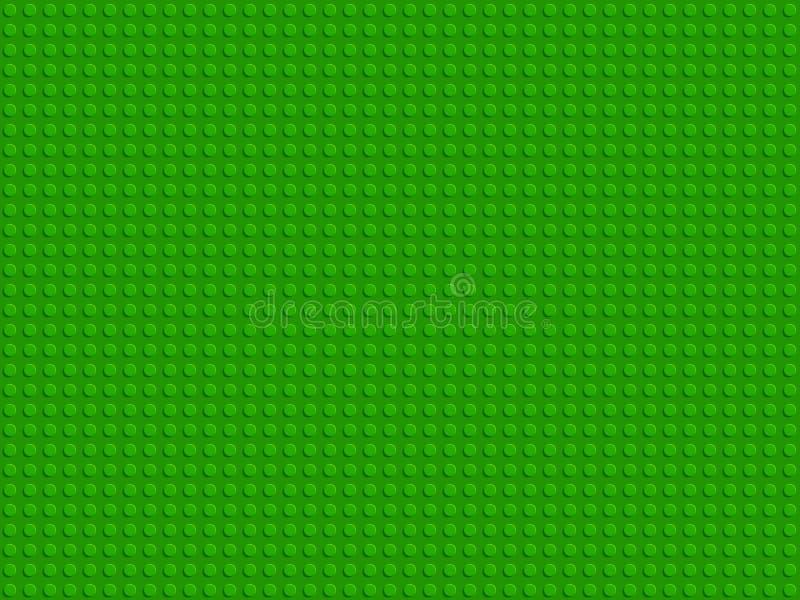 Зеленые пластиковые блоки конструктора покрывают дизайн безшовной картины плоский бесплатная иллюстрация