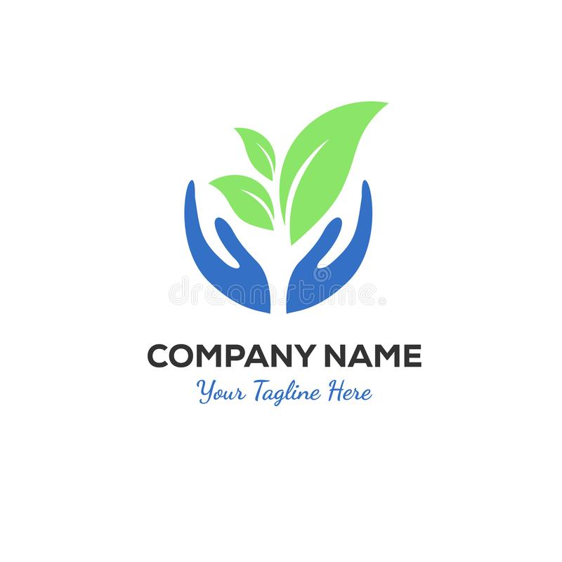 Зеленые дизайны логотипа руки иллюстрация вектора