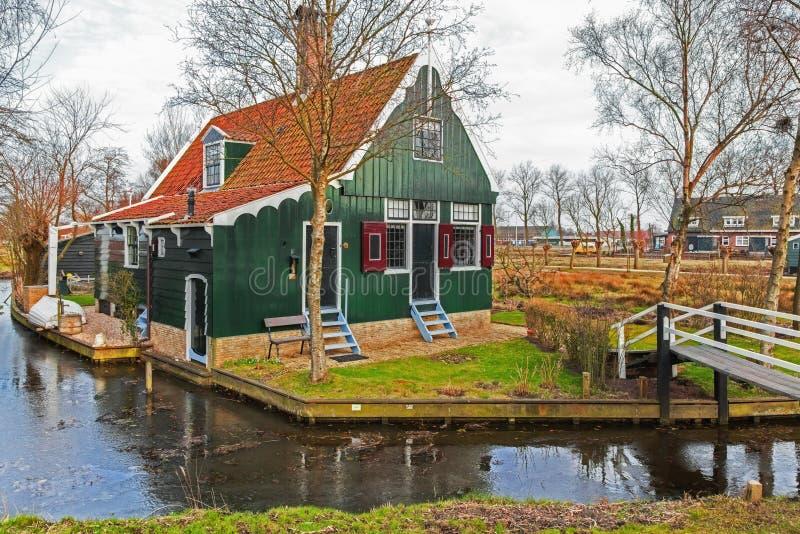 Зеленые дома в музее Zaanse Schans стоковое изображение rf