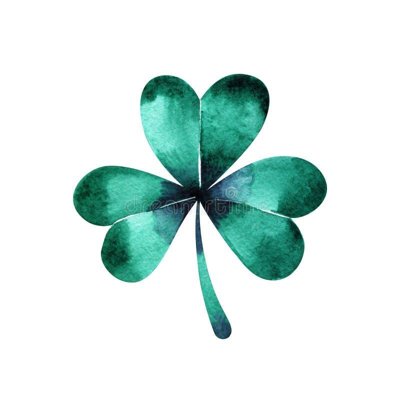 Зеленый клевер trifolium акварели Ирландский день ` s St. Patrick праздника Зеленые клевера trifolium акварели Ирландский праздни иллюстрация вектора